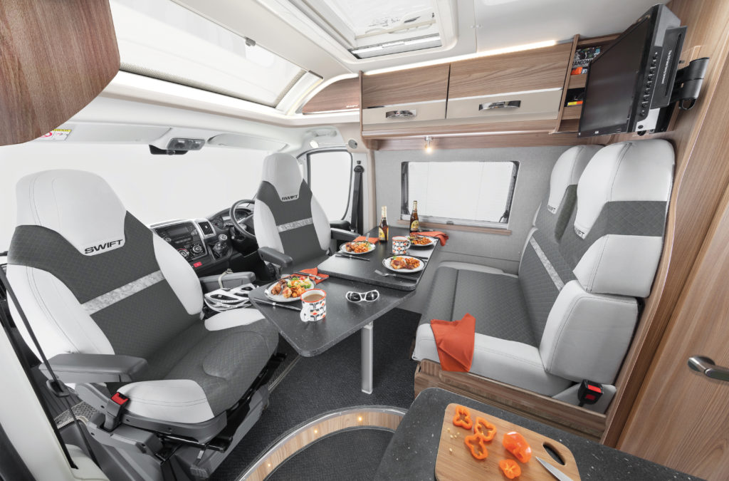 2021 Swift Select cab and dinette with swivel cab seats and grey interior